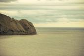 Beautiful Sea and Sky horizon Landscape with headland retro colors toning — Stock Photo