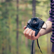 Man hand holding retro photo camera outdoor hipster Lifestyle with forest nature on background — Stockfoto #56233897