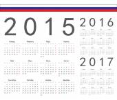 Set of russian 2015, 2016, 2017 year vector calendars — Stock Vector