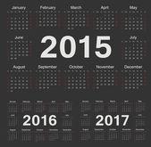 Vector black circle calendars 2015, 2016, 2017 — Stock Vector