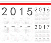 Set of Polish 2015, 2016, 2017 year vector calendars — Stock Vector