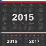 Постер, плакат: Vector black Czech circle calendars 2015 2016 2017