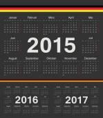 Vector black german circle calendars 2015, 2016, 2017 — Stock Vector
