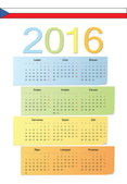 Czech 2016 vector color calendar. — Stock Vector