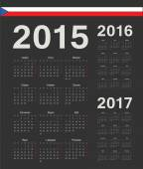 Set of black Czech 2015, 2016, 2017 year vector calendars — Stock Vector