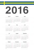 Swedish 2016 year vector calendar — Cтоковый вектор