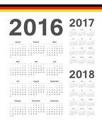 Set of German 2016, 2017, 2018 year vector calendars — Stock Vector