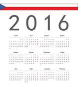 Square Czech 2016 year vector calendar — Stock Vector