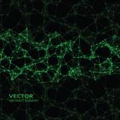 Green abstract cybernetic particles on black background — Stock Vector