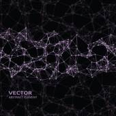 Pink abstract cybernetic particles on black background — Vettoriale Stock
