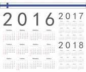 Set of Finnish 2016, 2017, 2018 year vector calendars — Stock Vector