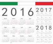 Set of Italian 2016, 2017, 2018 year vector calendars — Stock Vector