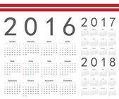 Set of Latvian 2016, 2017, 2018 year vector calendars — Stock Vector