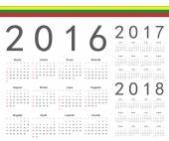 Set of Lithuanian 2016, 2017, 2018 year vector calendars — Stock Vector