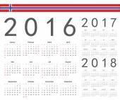 Set of Norwegian 2016, 2017, 2018 year vector calendars — Stock Vector