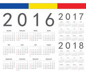Set of Romanian 2016, 2017, 2018 year vector calendars — Stock Vector