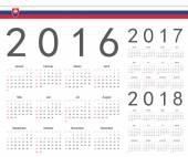 Set of Slovak 2016, 2017, 2018 year vector calendars — Stock Vector