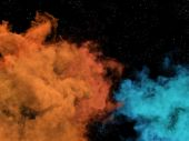Blue and orange nebulas and stars in cosmos — Stock Photo