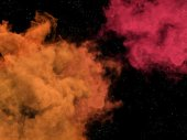 Pink and orange nebulas and stars in space — Stock Photo