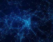 Bakgrund med cybernetiska partiklar — Stockfoto