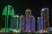 Buildings in the district of Grozny City with night illumination — Stock Photo