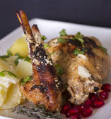 Braised rabbit with potatoes and thyme — Zdjęcie stockowe