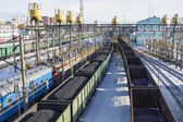 ULAN-UDE, RUSSIA - FEBRUARY 4: Rail cars loaded with coal on Fevruary 4, 2015 in Ulan-Ude. — Stock Photo