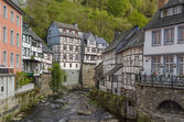 Houses along the Rur river, Monschau, Germany — Stock Photo