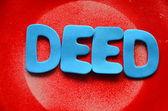 Deed word — Stock Photo