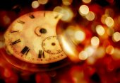 New year gold clock on abstract christmas background — Stock Photo
