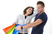 Couple coming from shopping — Stock Photo