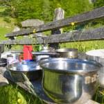 Mountaineering dish kit. Travel set for eating. — Stock Photo #76887655