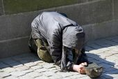 Senior person begging — Stock Photo