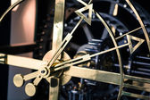 Steel clock detail, side view, hands wide — Stock Photo