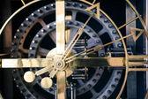 Steel clock detail, orthogonal view — Stock Photo