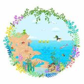 Treasure in the lake — Stock Vector
