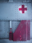 Medical aid kit compartment on old military aircraft — Stock Photo