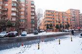 Winter morning scene at steet in Dalian, China. — Stock Photo