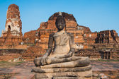 The Buddha statue with old dilapidated temple in background  — Stock Photo