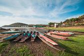 Small fishing boats docking — Stock Photo