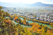 Blur background image of beautiful town in autumn — Stock fotografie