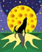 Wolf and big moon. — Stock Vector
