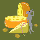 Cheese, olives and mouse. — Stock Vector
