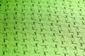Fabric colors green, patterned texture deer.  — Stock Photo