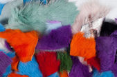 Texture colored rags rabbit fur — Stock Photo