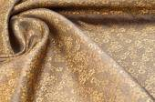 Silk fabric texture, color Light Goldenrod Yellow, with small fl — Stock Photo