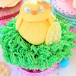 An Easter cupcakes with baby chick — Stock Photo #66989393