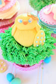 Easter cupcake with baby chick — Stock Photo