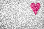 Silver Glitter Sparkle Pink Heart Background — Stock Photo