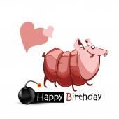 Happy Birthday smile piggy sausage — Stock Vector